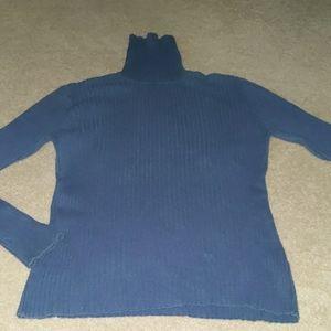 L.L. Bean blue ribbed turtleneck